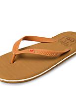 Men's Slippers & Flip-Flops Comfort PU Summer Outdoor Navy Blue Light Brown Flat