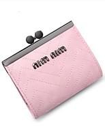 女性 小銭入れ PU オールシーズン カジュアル ラウンド ファスナー ブルー ブラック ピンク