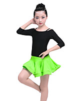 Shall We Latin Dance Outfits Women's Performance Nylon Spandex Cascading Ruffle 2 Pieces 3/4 Length Sleeve Dropped Skirts Tops