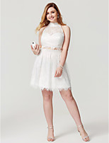 A-Line High Neck Knee Length Lace Cocktail Party Homecoming Dress with Beading Buttons by TS Couture®