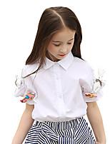 Girls' Solid Shirt,Cotton Summer Short Sleeve Regular