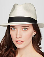 Women Men Straw Panama Fedora Sun Hats Beach Gangster Ribbon Band Wide Brim