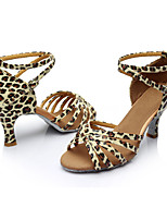 Women's Latin Silk Sandals Indoor Customized Heel Leopard Customizable