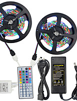 Hkv® 10m (2 * 5m) imperméable à l'eau 3528 300led rgb strip light 44key ir télécommande 5a alimentation ca 100-240v