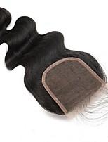100% человеческие волосы закрывают кружевом свободную / среднюю / трехчастную натуральную черную перуанскую крышку для тела 5x5 дюймов