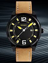 SKMEI Men's Dress Watch Fashion Watch Japanese Quartz Calendar Water Resistant / Water Proof Genuine Leather Band Cool Casual Khaki