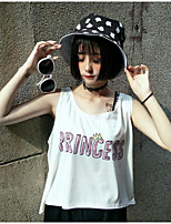 Women's Casual/Daily Cute Tank Top,Letter Round Neck Sleeveless Cotton