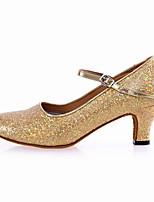 Damen Latin Glanz Sandalen Anfänger Glitter Kubanischer Absatz Gold Silber 5 - 6,8 cm Maßfertigung