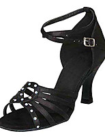 Women's Latin Silk Sandals Performance Crystals/Rhinestones Stiletto Heel Black 3