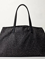 Women Shoulder Bag Linen All Seasons Casual Outdoor Round Without Zipper Black
