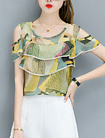 Women's Going out Casual/Daily Simple Cute Summer Fall Blouse,Botanical Print Round Neck Short Sleeve Polyester Chiffon Medium