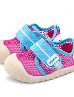 Girls' Flats First Walkers Breathable Mesh Tulle Spring Fall Casual Walking First Walkers Magic Tape Low Heel Blushing Pink Ruby Fuchsia
