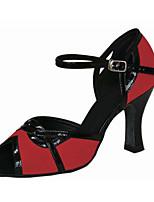 Для женщин Латина Флис Сандалии Концертная обувь С пряжкой На шпильке Черный/Красный 7,5 - 9,5 см Персонализируемая
