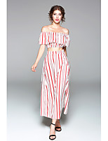 Women's Holiday Going out Casual/Daily Simple Sexy Spring Summer T-shirt Skirt Suits,Striped Boat Neck Short Sleeve Ruffle Micro-elastic