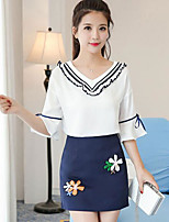 Women's Going out Casual/Daily Casual Summer T-shirt Skirt Suits,Solid Floral V Neck 1/2 Length Sleeve Inelastic