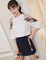 Women's Other Casual Other Summer Blouse Skirt Suits,Embroidery Crew Neck 1/2 Length Sleeve