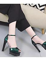 Femme Chaussures à Talons Confort Escarpin Basique Polyuréthane Printemps Eté Décontracté Confort Escarpin Basique Noir Argent Vert10 à