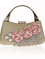 Women Bags All Seasons Polyester Evening Bag with Rhinestone Pearl Detailing Bead Tassel Flower for Event/Party Champagne Gold Black