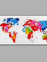 Hand-Painted Abstract Modern The World Map  Canvas Oil Painting For Home Decoration
