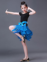 Shall We Latin Dance Dresses Kid's Spandex Splicing Short Sleeve High