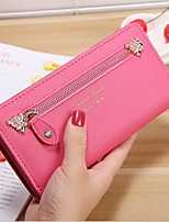 Women Checkbook Wallet PU All Seasons Casual Rectangle Zipper Fuchsia Aquamarine Black