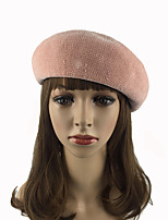 Women's Cotton Polyester Beret/Bucket Hat Pure Chic & Modern Keep Warm Fashion Casual Solid Cap Fall Winter Pure Color Wine/Grey/Black/Pink