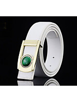 Menswear inlaid with jade fashion simple smooth buckle belt business men's leisure belt