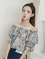 Women's Daily Casual Simple Blouse,Floral Boat Neck Half Sleeve Polyester