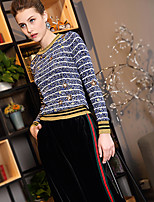 BLUEOXY Women's Going out Casual/Daily Work Regular PulloverStriped Round Neck Long Sleeve Polyester Nylon Others Fall Winter Thin Medium