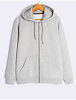 Men's Casual/Daily Hoodie Solid Hooded Micro-elastic Cotton Long Sleeve Fall