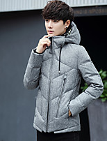 Men's Down Coat,Simple Active Daily Casual Solid-Cotton Polyester Polypropylene Long Sleeve