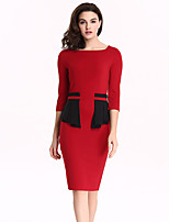 Womens Elegant Ruffled Frill Peplum Tunic Patchwork Vintage Wear To Work Business Party Bodycon Sheath Pencil Dress