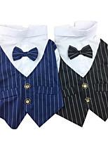 Собака смокинг Одежда для собак Свадьба Полоски Черный Синий