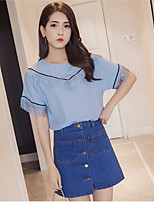 Women's Going out Casual/Daily Work Casual Sweet Summer Shirt Skirt Suits,Solid Round Neck Short Sleeve Tassel Micro-elastic