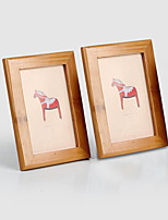 2 PC Picture Frames Country Retro Novelty Rectangle Natural Wood