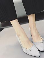 Women's Heels Slingback PU Spring Casual Slingback Gray Black 2in-2 3/4in