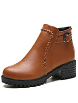 Women's Boots Comfort PU Fall Winter Casual Comfort Brown Gray Black Flat