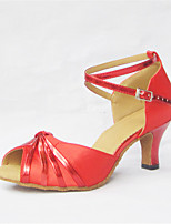 Women's Latin Silk Faux Leather Sandals Performance  Cuban Heel Ruby 2 - 2 3/4 Customizable