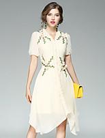Для женщин Для вечеринок На выход На каждый день Уличный стиль Оболочка Платье Цветочный принт,V-образный вырез До коленаС короткими