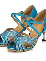 Для женщин Латина Лак На каблуках Для закрытой площадки С пряжкой Золотой Синий 5 - 6,8 см 7,5 - 9,5 см Персонализируемая