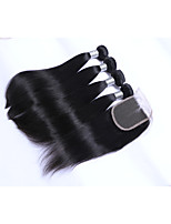 4Bundles 400g 100% Unprocessed Natural Straight Brazilian Remy Human Hair Wefts with 1Pcs 4x4 Lace Closures Natural Black Human Hair Extensions/Weaves