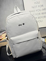 Women Backpack Canvas All Seasons Casual Round Zipper Black White 10-20