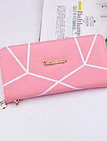 Women Money Clip PU All Seasons Shopping Daily Casual Square Zipper Blushing Pink Sky Blue Fuchsia Purple Gray