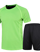 Men's Women's Running T-Shirt Moisture Wicking Quick Dry Clothing Suits for Running/Jogging Exercise & Fitness Green Blue