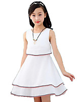 Girl's Fashion Stripe Solid Color Dress,Cotton Polyester Chiffon Summer Sleeveless