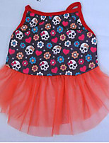 Dog Coat Dress Dog Clothes Party Casual/Daily Skulls Blue Ruby White