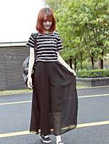 Women's Daily Casual Casual Summer T-shirt Skirt Suits,Striped Quotes & Sayings Round Neck Short Sleeve Micro-elastic