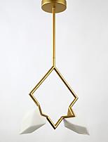 2 головы пост современный металл со стеклянной персиковой люстра лампа для спальни / столовая комната / бар / кофейная комната украшают