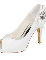 Damen High Heels Pumps Stretch - Satin Sommer Kleid Party & Festivität Pumps Kristall Stöckelabsatz Elfenbein 10 - 12 cm