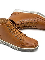 Men's Boots Light Soles Fall Winter TPU Leatherette Casual Lace-up Low Heel Black Brown Under 1in